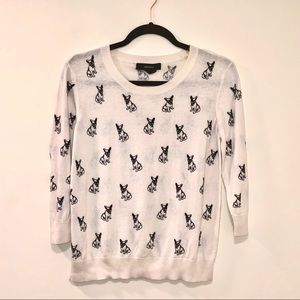 French Bulldog Patterned Cream Sweater